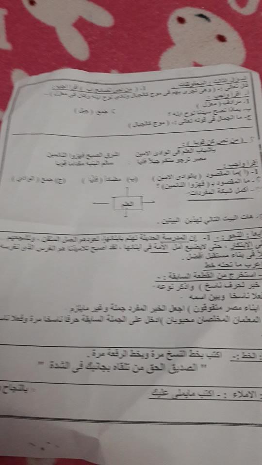 امتحان اللغة العربية للصف السادس الابتدائي ترم أول 2019 ادارة مصر الجديدة التعليمية  Aao_co20