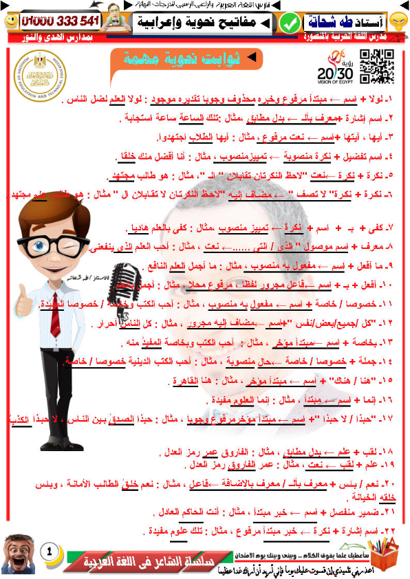 ثوابت ومفاتيح نحوية مهمة للإعراب بسهولة ويسر.. لاغنى عنها لكل طالبة وطالبة Aaooy_12