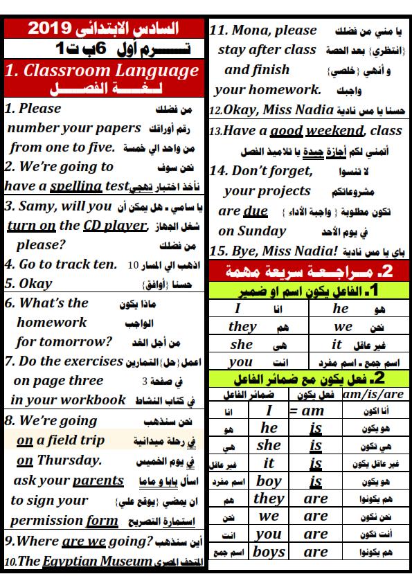مذكرة اللغة الانجليزية للصف السادس الابتدائى ترم أول 2019 مستر محمد صلاح Aay_aa11