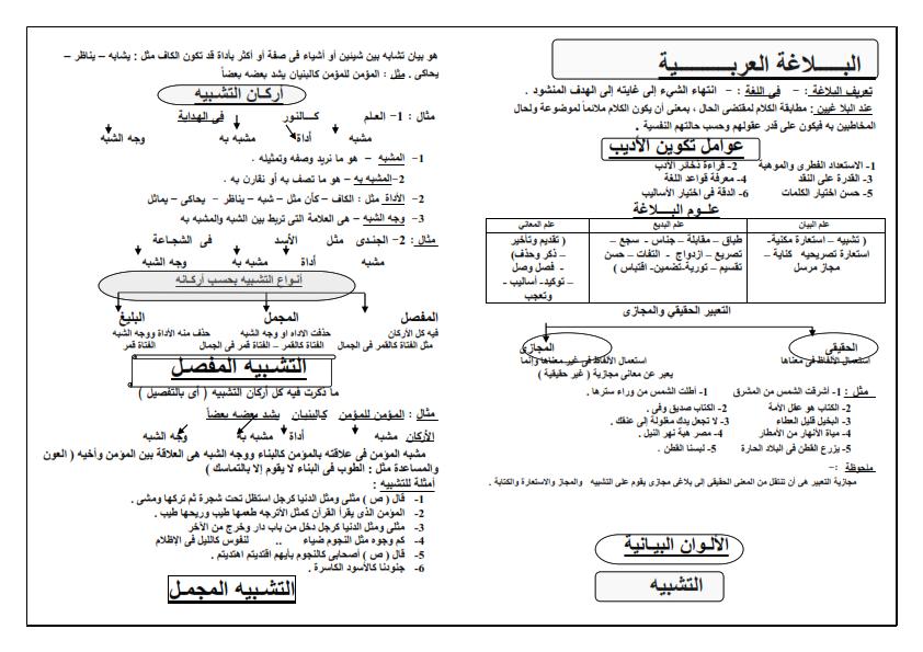 ملخص البلاغة للثانوية العامة.. 14 ورقة Aay_ao13