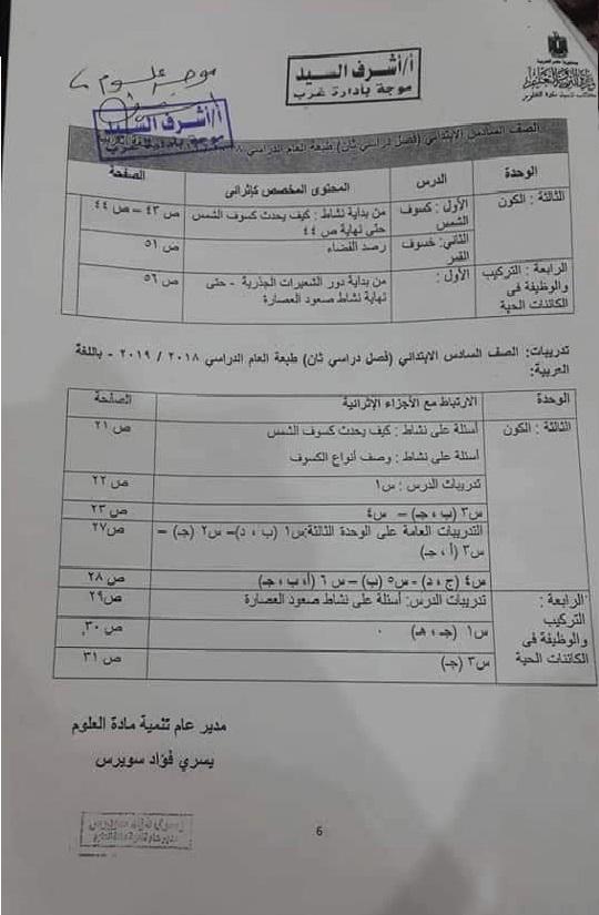 نشرة معتمدة بمحذوفات مناهج المرحلة الابتدائية ترم ثاني Aayia_11