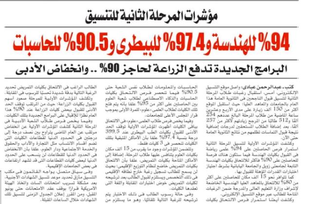 97.4 % للبيطري 94% للهندسة 90.5% للحاسبات الزراعة 90% .. مؤشرات نتيجة المرحلة الثانية واعلانها يوم الثلاثاء Aio11