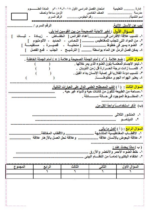 امتحان علوم متوقع بنموذج الإجابة للصف الخامس الابتدائي ترم أول 2019 Aya_0012