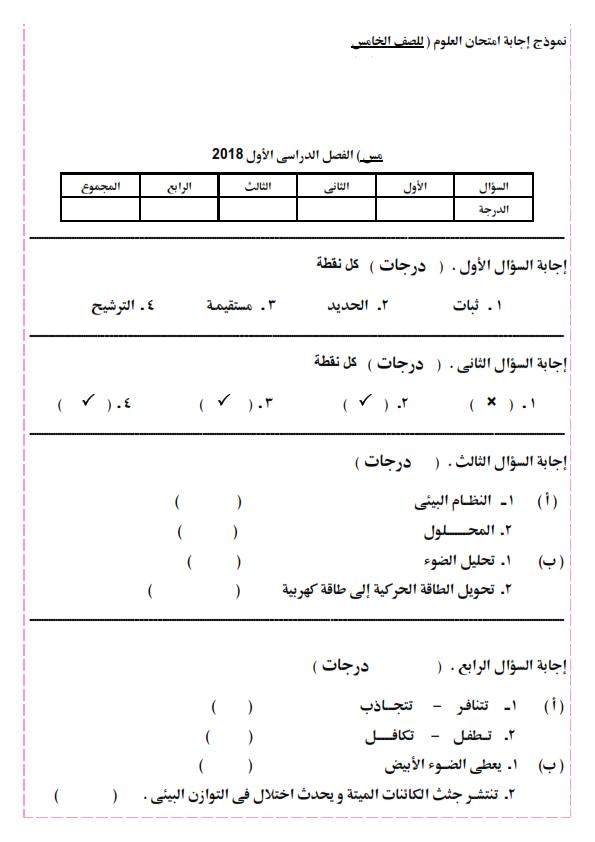 امتحان علوم متوقع بنموذج الإجابة للصف الخامس الابتدائي ترم أول 2019 Aya_0013