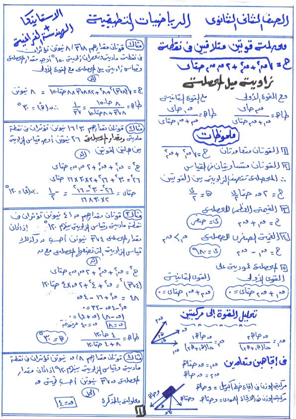 مراجعة ليلة الامتحان في الرياضيات التطبيقية للصف الثاني الثانوي ترم أول مستر/ أحمد عمر Ayo_ao26