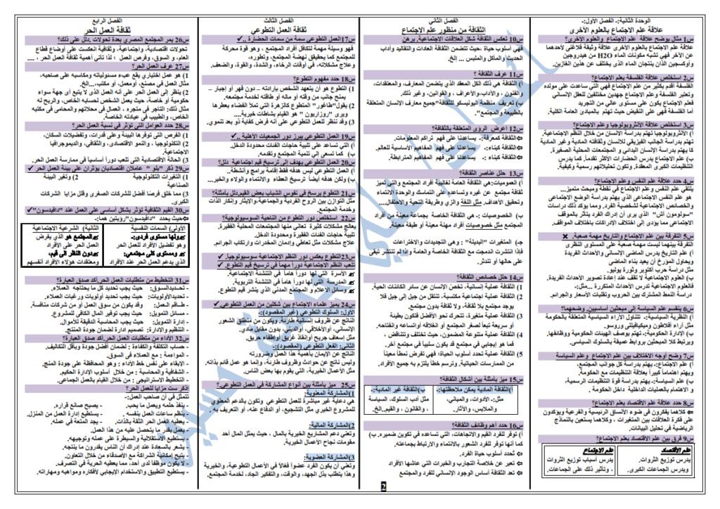 مراجعة اليوم السابع في علم الاجتماع للثانوية العامة 2021 Ayo_ao37