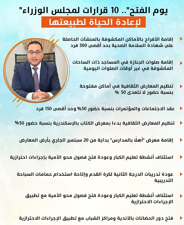 عاجل| مجلس الوزراء يتخذ 10 قرارات مهمة لإعادة الحياة لطبيعتها Eh4iyd10