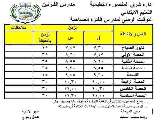 مواعيد الحضور والانصراف لمدارس الفترة الواحدة والفترتين للعام الدراسي الجديد Fb_img25