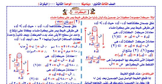 اقوى مراجعة نهائية لدرس البكرات فى الديناميكا للصف الثالث الثانوى O10