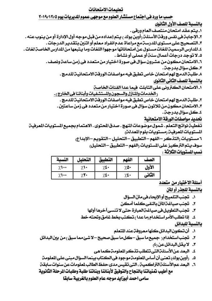 تعليمات امتحان الصفين الأول والثاني الثانوي يناير 2020 O11
