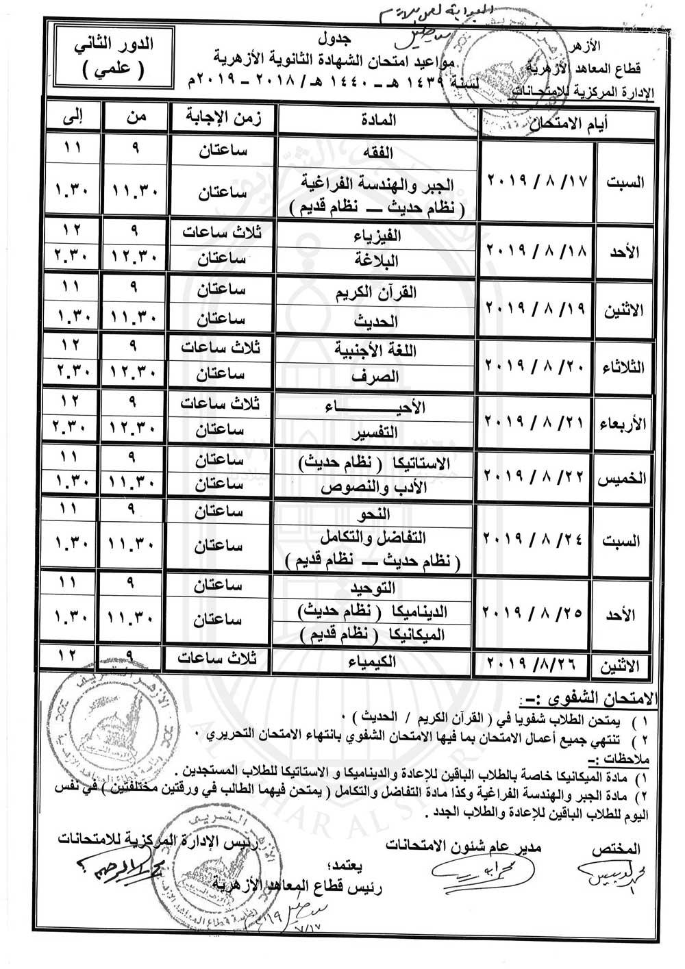 """جدول امتحانات الثانوية الأزهرية 2019 """"دور ثان"""" Oaioo-11"""