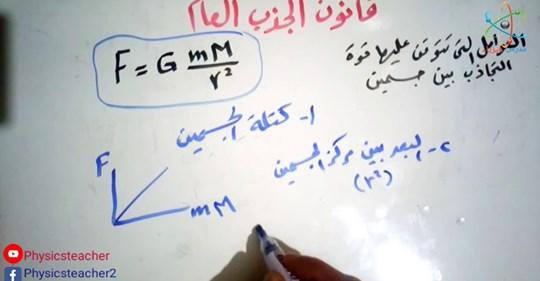 لطلاب الصف الأول الثانوي.. درس (قانون الجذب العام + حل اسئلة كتاب الإمتحان 2020 مستر/ أحمد رسلان Safe_i36