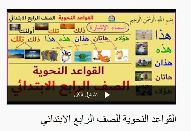 شرح قواعد النحو - الصف الرابع الابتدائي -  بطريقة شيقة فيديو Screen42