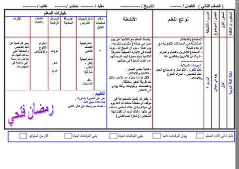 تحضير خمسة دروس من نافذة اللغة العربية الصف الثاني الابتدائي ترم أول