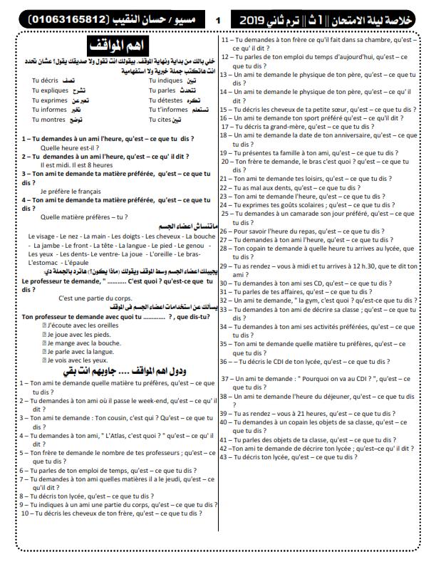 خلاصة مراجعة ليلة امتحان اللغة الفرنسية للصف الاول الثانوي ترم ثاني في 5 ورقات مسيو حسان النقيب Yao_ao13