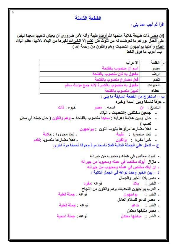 8 قطع نحو مجابة للصف السادس الابتدائي مهمة لامتحان الترم الاول Yoo_0012