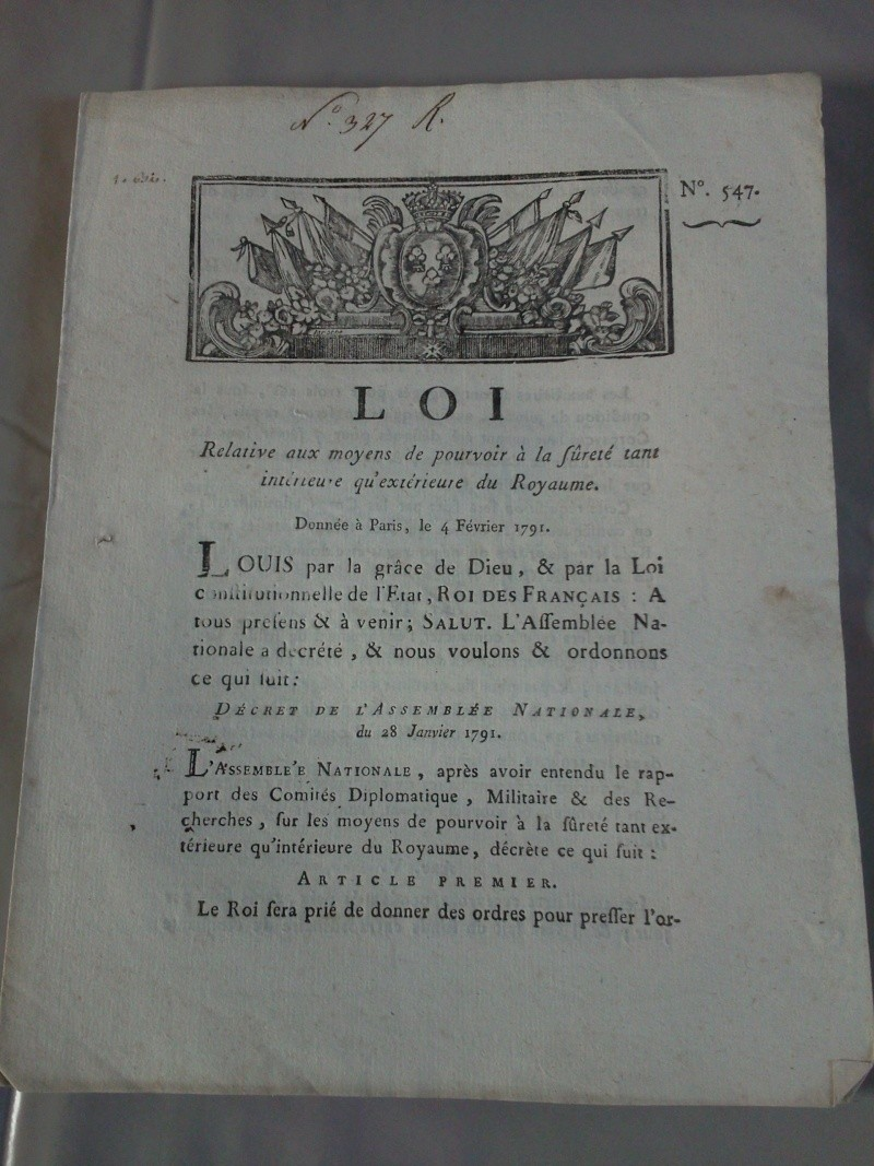 Loi portant sur la sureté du royaume - 4 février 1791 Photo011