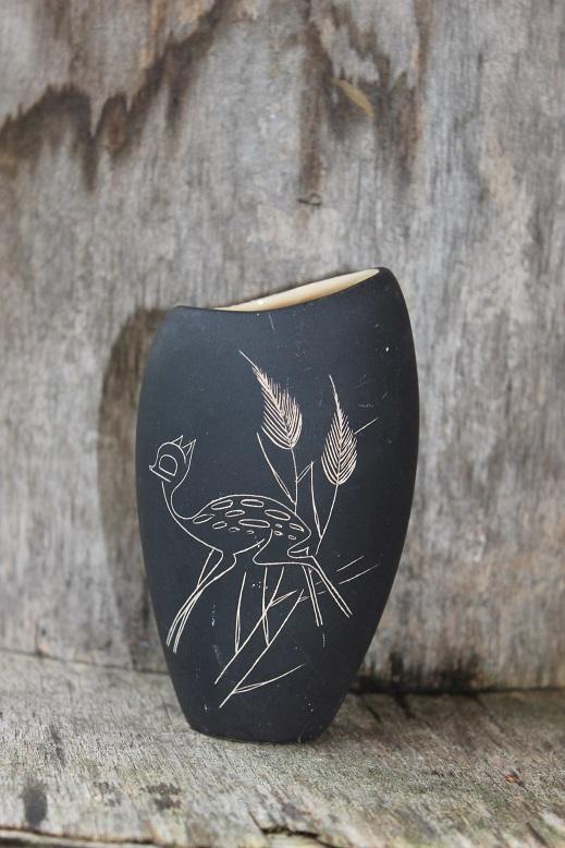 W. German SGraffito Deer Design Vase -  Help with mark Deer210