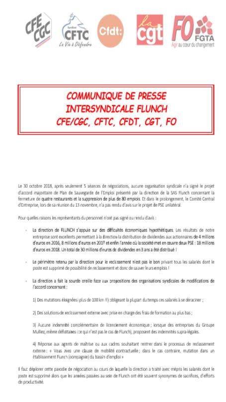 """Affichage """"Communiqué de presse intersyndicale FLUNCH"""" Commun11"""