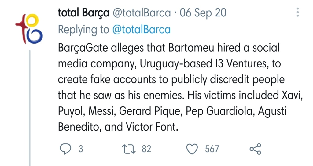 """Vives (Barca spokesperson): """"Those demanding Bartomeu to resign on twitter are not from Catalonia, but from other countries."""" - Page 4 Screen13"""