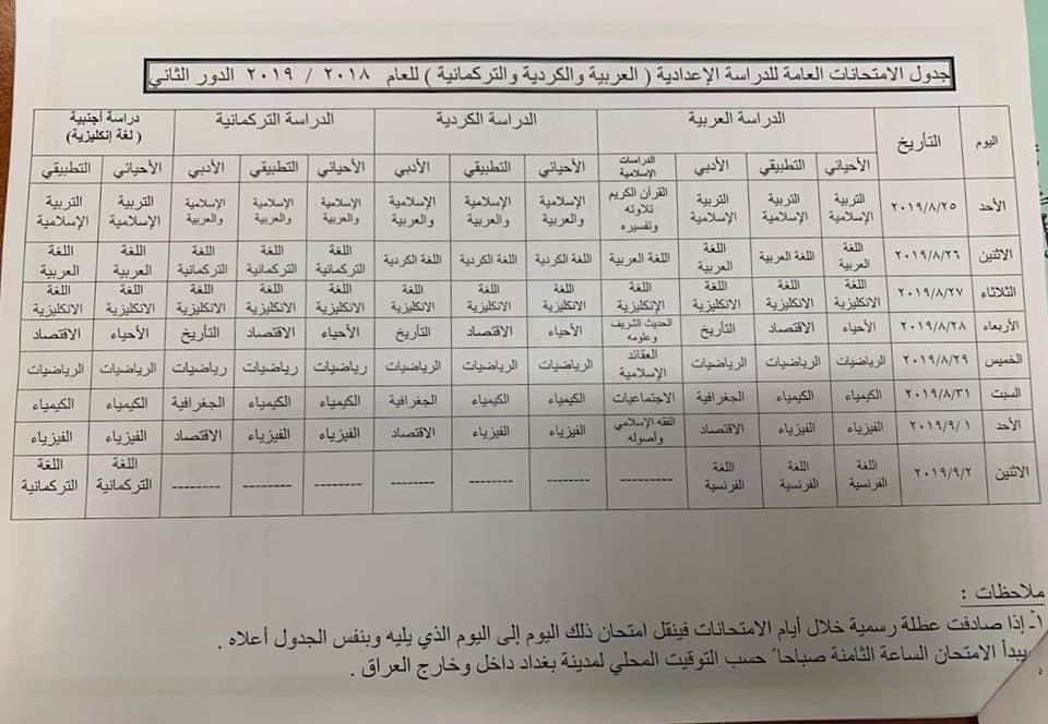 جدول امتحانات السادس العلمي والادبي الدور الثاني 2019 وزارة التربية 66620310