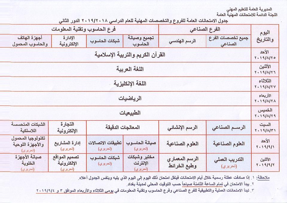 جدول الامتحانات المهنية والتمريض الدور الثاني 2019 للفروع والتخصصات المهنية 67117410