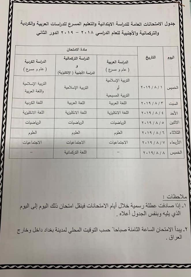 جدول امتحانات الصف السادس الابتدائي الدور الثاني 2019 وزارة التربية 67459410