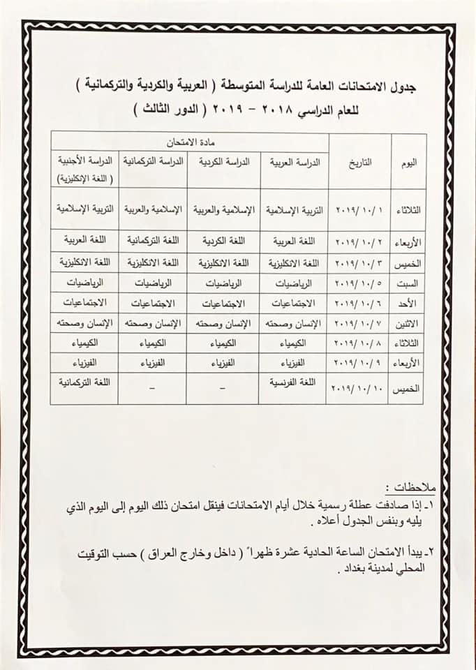 جدول امتحانات الصف الثالث المتوسط الدور الثالث 2019 وزارة التربية 70173810