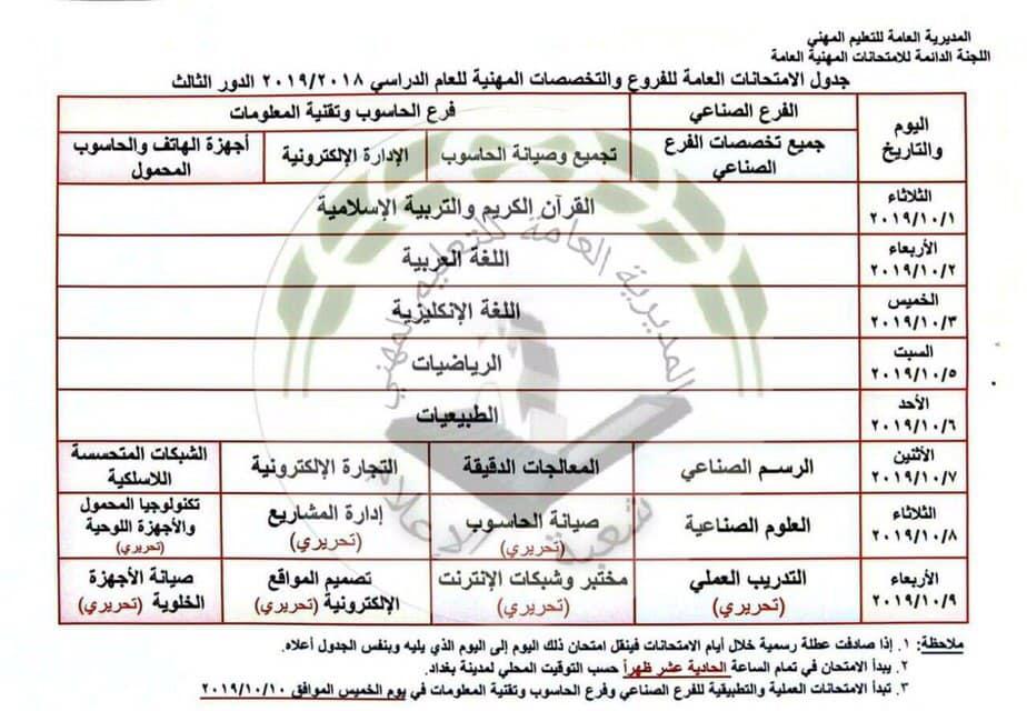 جدول الامتحانات المهنية والتمريض الدور الثالث 2019 للفروع والتخصصات المهنية 71202810