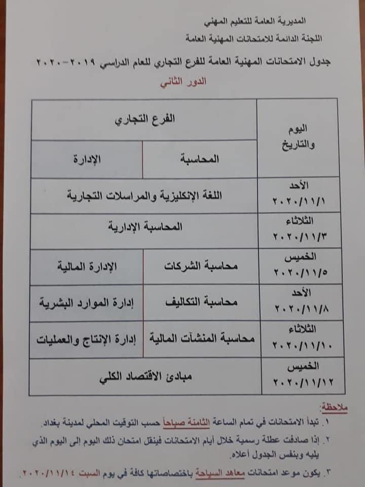 جدول الامتحانات المهنية والتمريض الدور الثاني 2020 للفروع والتخصصات المهنية Photo511