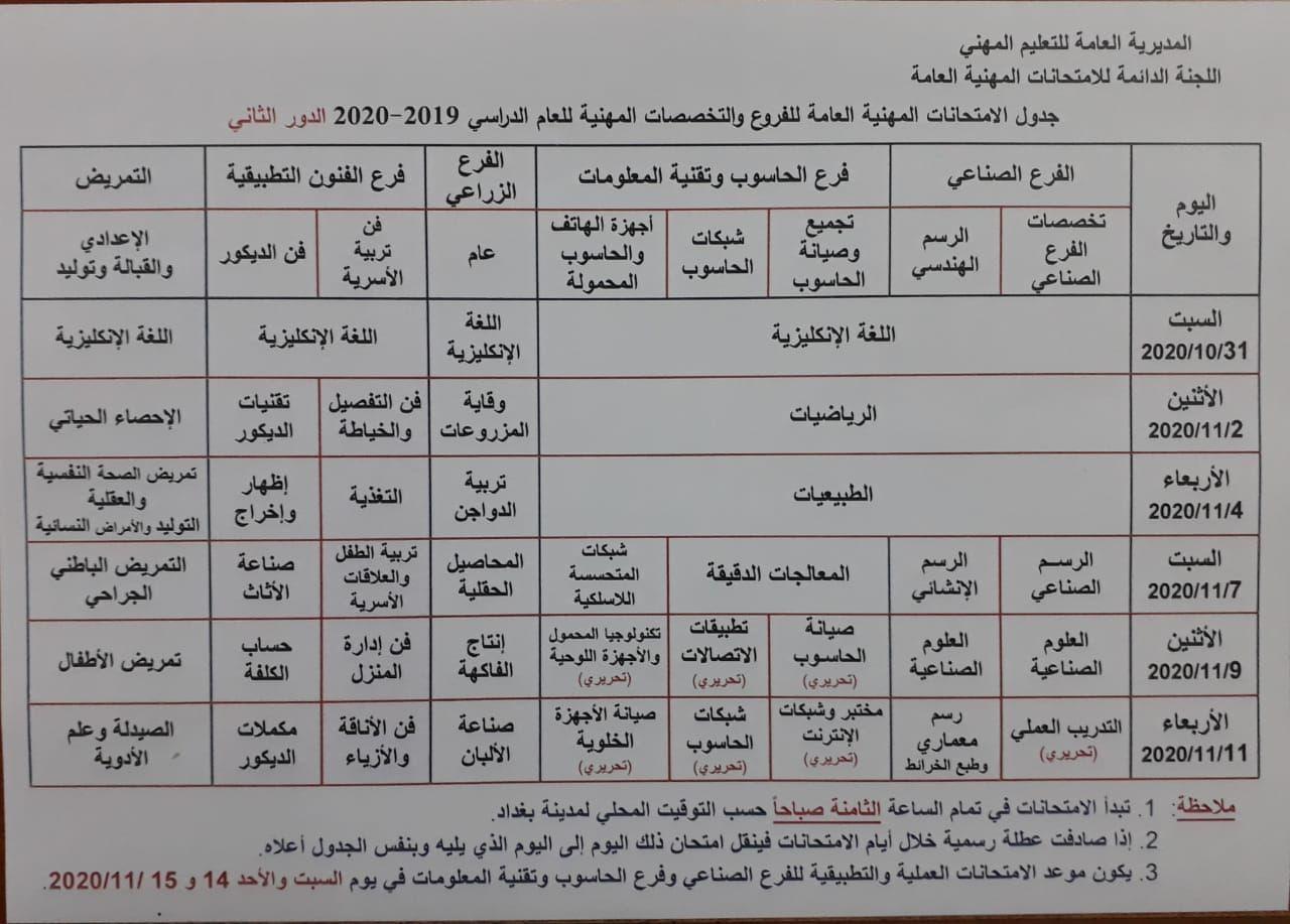 جدول الامتحانات المهنية والتمريض الدور الثاني 2020 للفروع والتخصصات المهنية Photo512