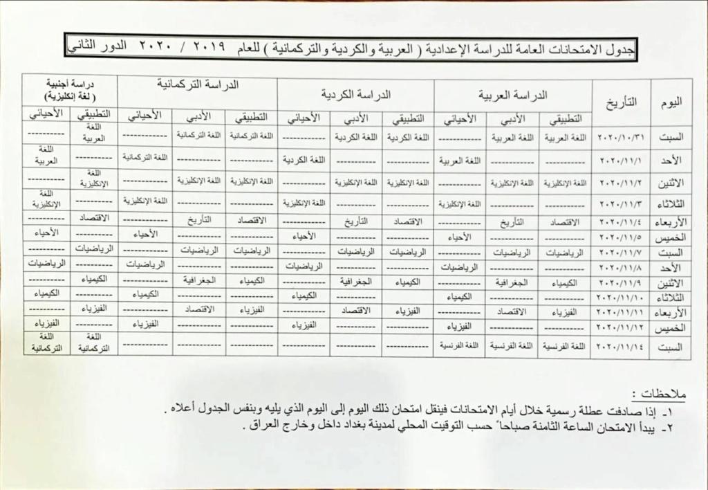 [ اخر تحديث ] جدول امتحانات الصف السادس الاعدادي الدور الثاني 2020 Photo513