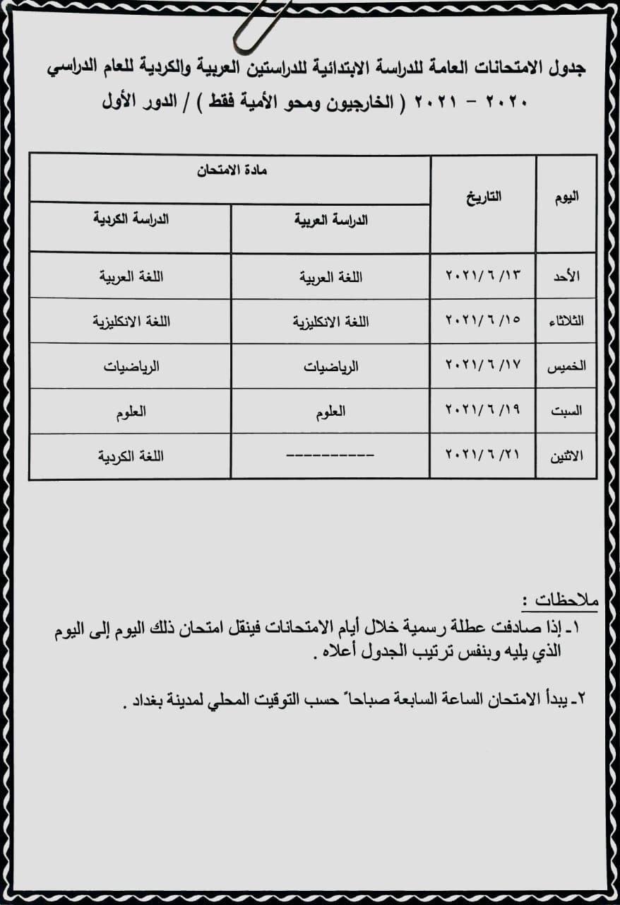 جدول الخارجي ومحو الامية للصف السادس الابتدائي 2021 , وزارة التربية العراقية Photo514