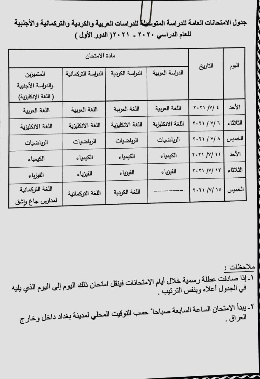 جدول امتحانات الصف الثالث المتوسط الدور الاول 2021 , الامتحانات الوزارية Photo515