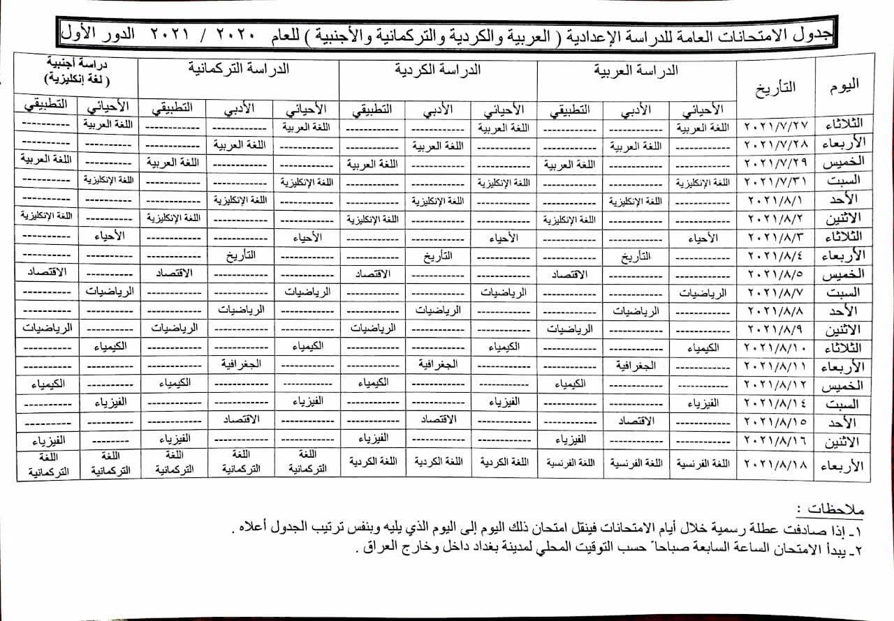 جدول امتحانات الصف السادس الاعدادي الدور الاول 2021 بفرعيه العلمي والاحيائي Photo516