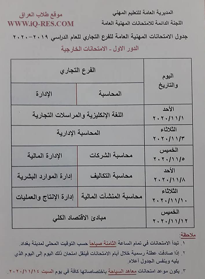 جدول الامتحانات الخارجية للتعليم المهني الدور الاول 2020 Yyo_aa10