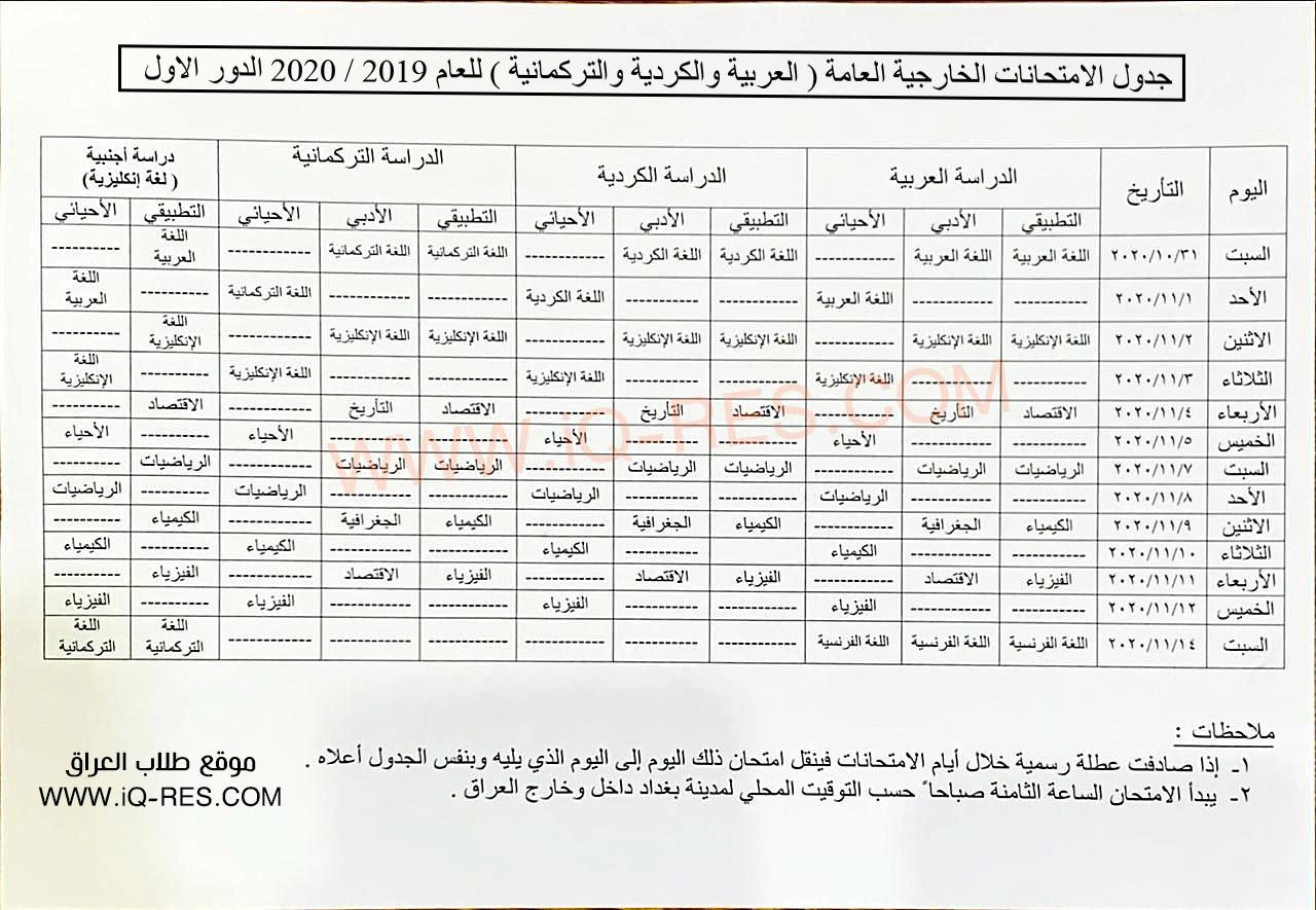 جدول الامتحانات الخارجية للسادس الاعدادي الدور الاول 2020 Yyo_cc10