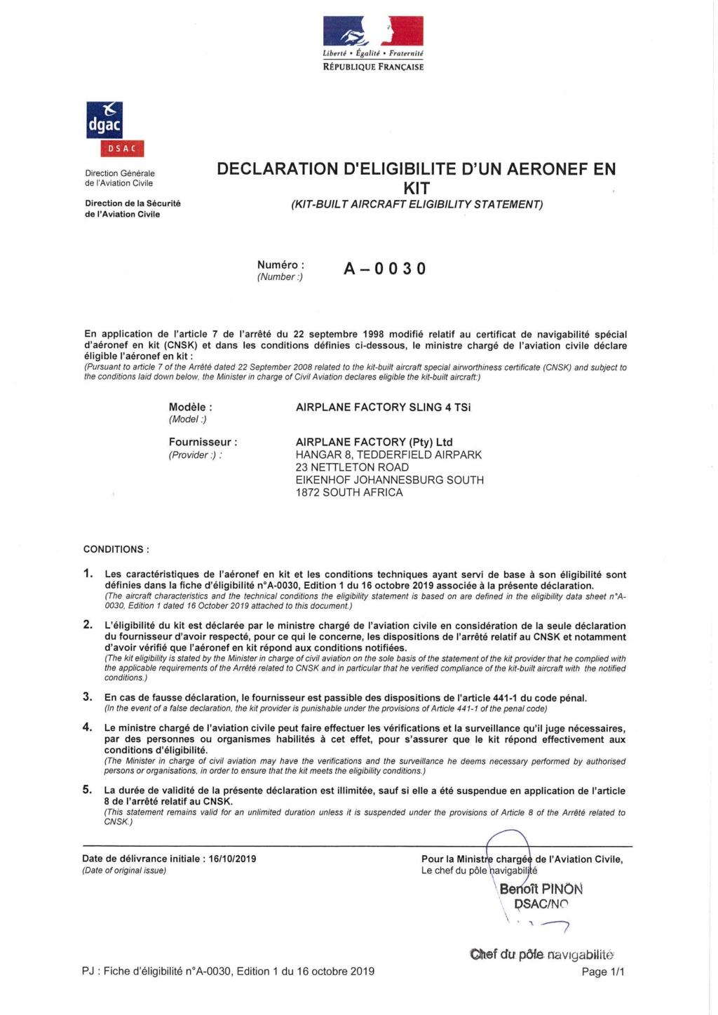 Sling 4 TSi Déclaration d'éligibilité en kit A-0030 du 16 octobre2019 19101610