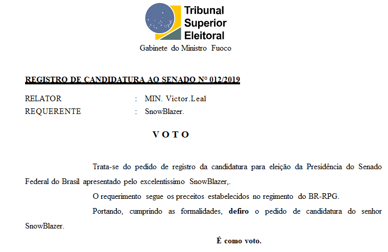 [REQ] REGISTRO DE CANDIDATURA AO SENADO Nº 012/2019 Screen24