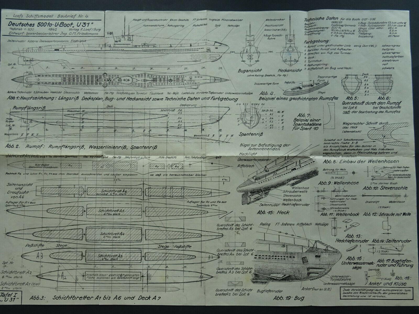 plan maquette U-Boot 1942  S-l16011