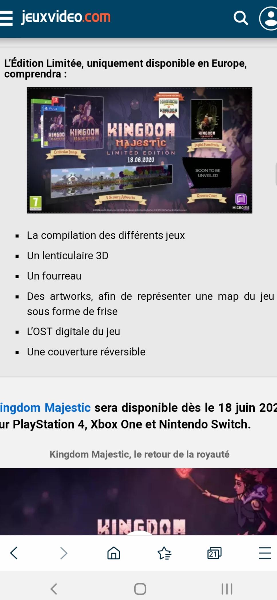 Édition Limitée de Kingdom Majestic sur PS4, Switch et XOne 20200321