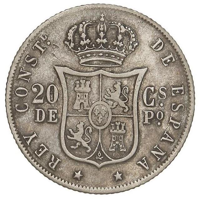 20 centavos de Peso 1881 sobre 1880 0_20pe11