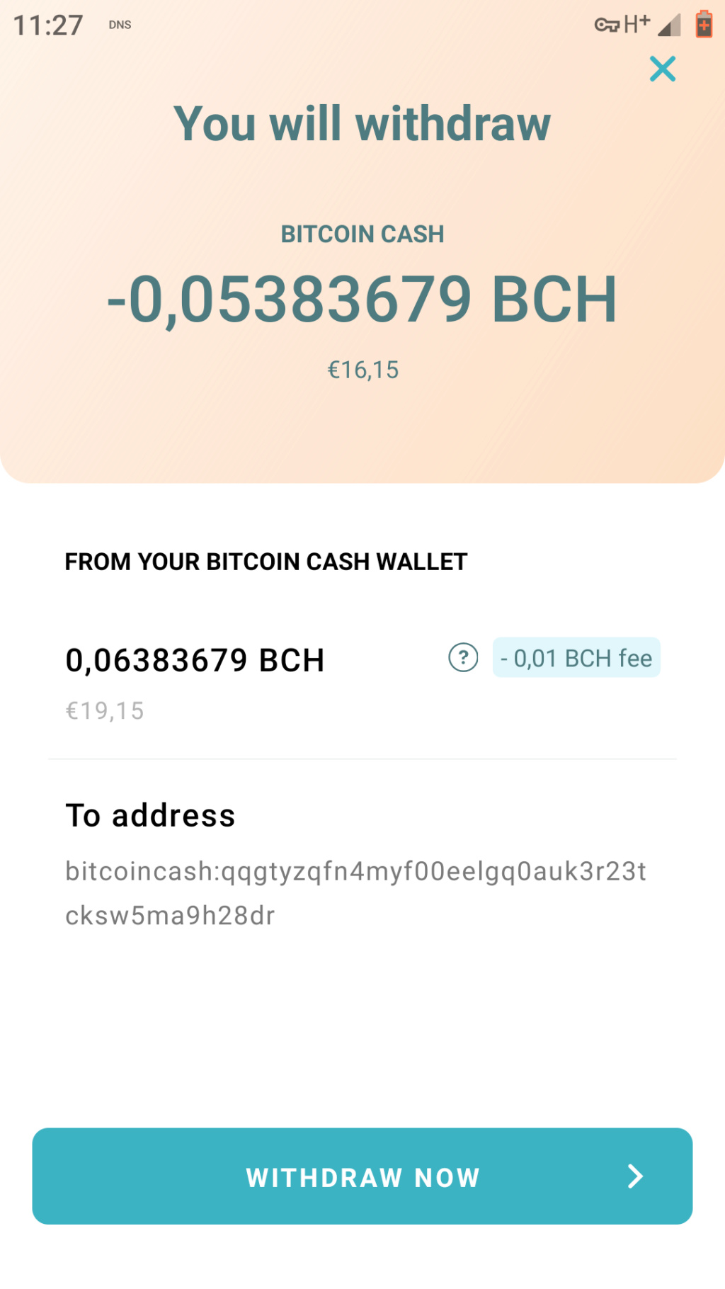 getally 5 euro w Bitcoin Cash Screen32