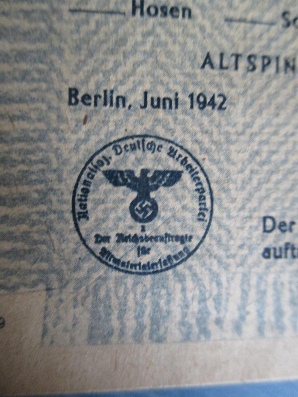 Bon de collecte allemand 1942 Img_3410
