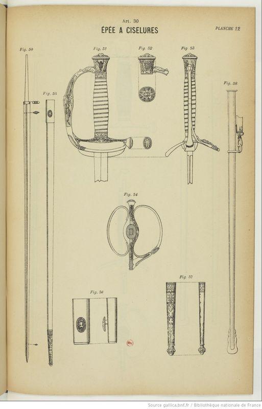 Epée à ciselures avec fourreau en acier nickelé Descri10