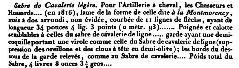 Sabre de cavalerie légère 1816 Sans_t11