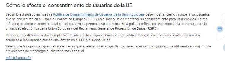 Google Adsense me marca un aviso de revisión por cookies en Europa Avis10