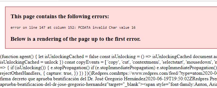 Los Feeds Atom parece que dejaron de funcionar Error_10