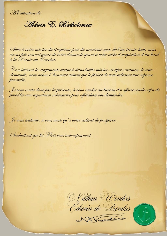Correspondance Aldin E. Bartholomew Repons20