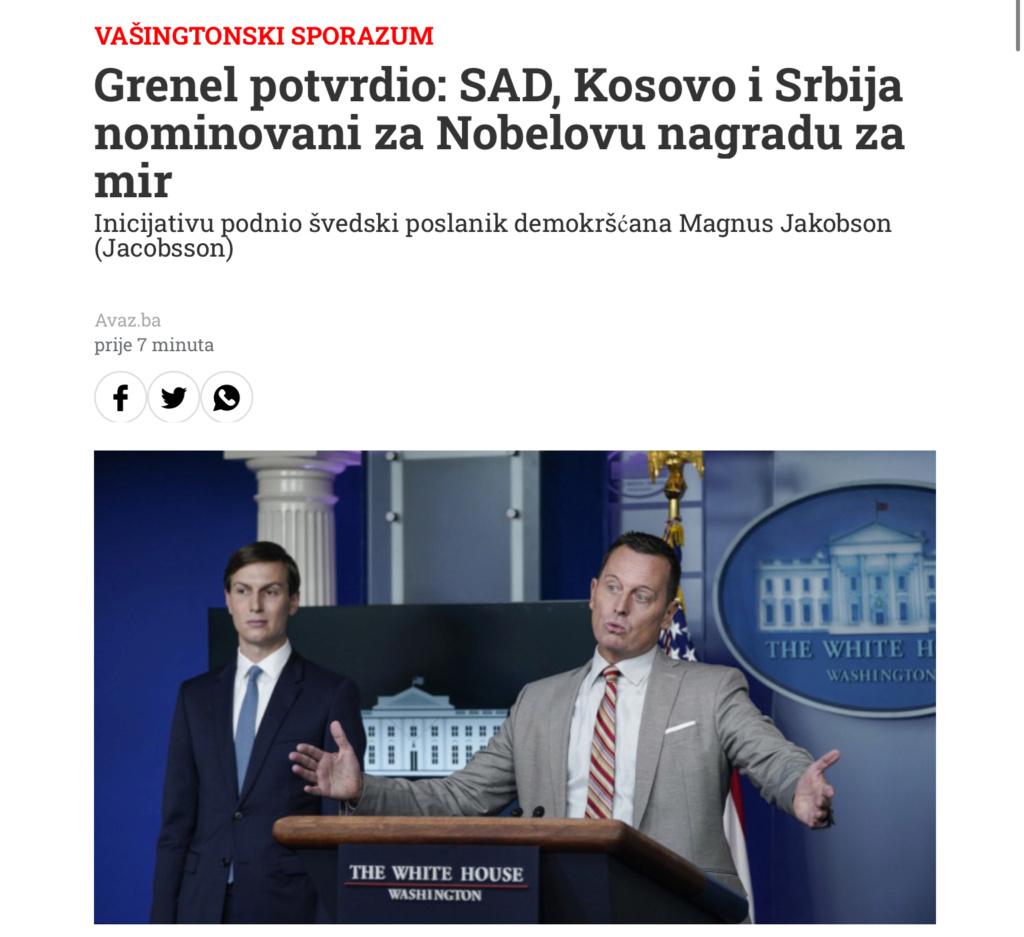 Grenel potvrdio: SAD, Kosovo i Srbija nominovani za Nobelovu nagradu za mir 67d5ef10